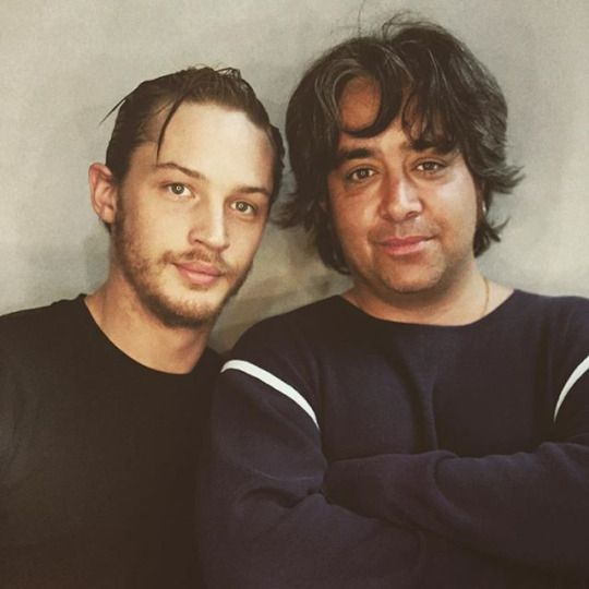 Tom Hardy with Stephen Adly Guirgis, photographed by Sarah Dunn.  2003