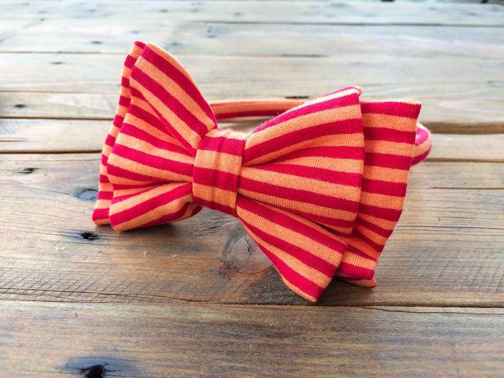 Passata per capelli in maglia righe arancio. di Hello World by Patrizia Guidi - Papillon e fiocchi per ogni occasione su DaWanda.com