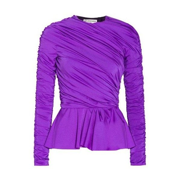 Balenciaga Ruched Peplum Top ($1,246) ❤ liked on Polyvore featuring tops, ruched top, evening wear tops, purple jersey, gathered top and wet look top