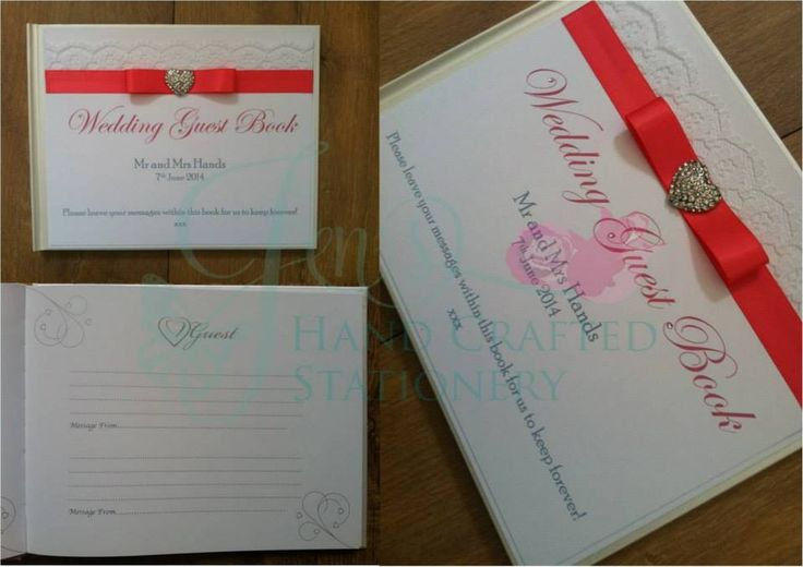 Coral wedding guest book with diamanté heart embellishment www.jenshandcraftedstationery.co.uk www.facebook.com/jenshandcraftedstationery