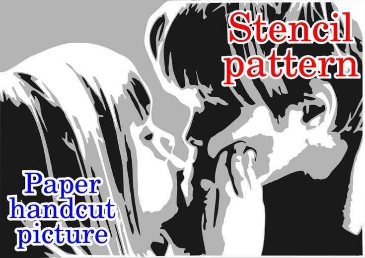 Сhildren kissing, layered stencil, pappercutting, instant download, pattern by TrafaretArt on Etsy