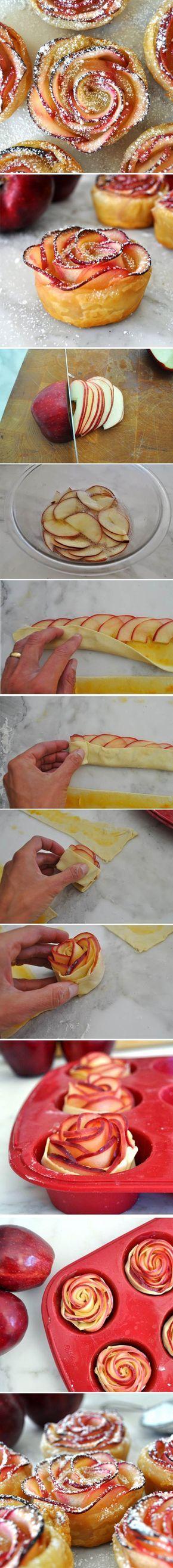 Apple Roses By Manuela. Usar una masa de hojaldre, untar con mermelada de durazno. Para decorar azúcar impalpable. Rico, sano y adorable!