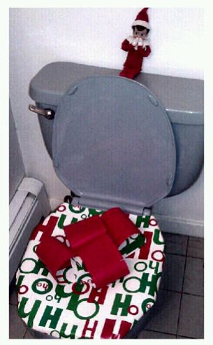 He thinks he's funny [he's sitting there laughing].. he wrapped the kids toilet up like a present!! They thought it was hysterical!!