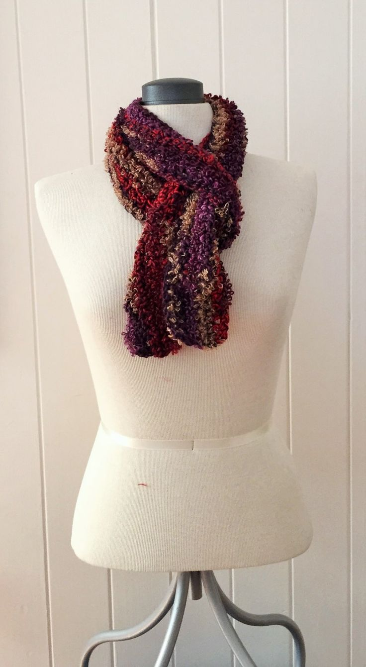 Loopy Purple, red and tan long scarf by GreenfishBluefish on Etsy