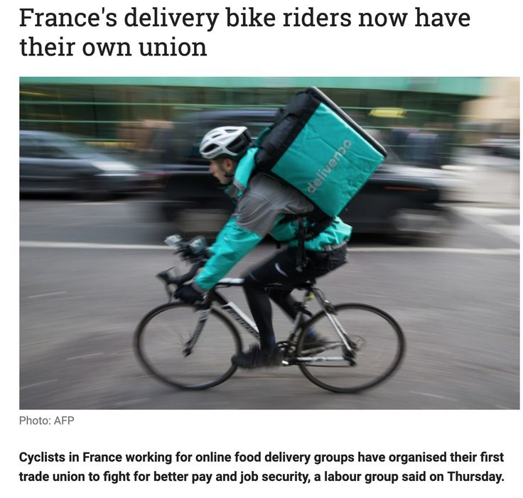 France S Delivery Bike Riders Now Have Their Own Union Bike