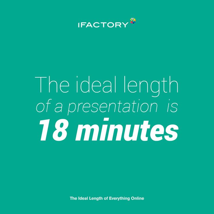 The ideal length of a presentation is 18 minutes. #ideallength #presentation #brisbane #ifactory #ifactorydigital #adagency #digitalagency #webdesign #digitalmarketing