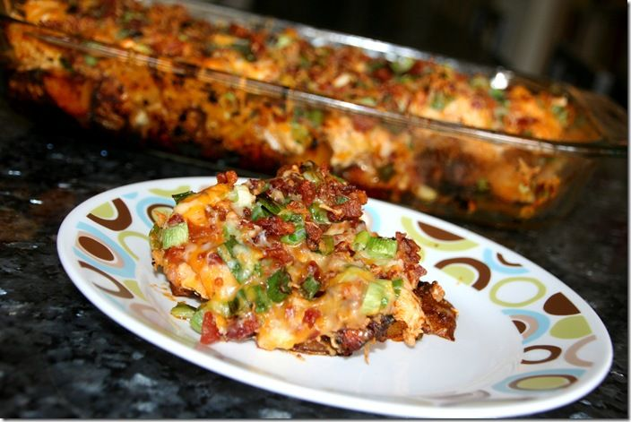 loaded potato and chicken casserole: Fun Recipes, Baked Potatoes, Baking Potatoes, Maine Dishes, Potatoes Buffalo, Loaded Potatoes, Buffalo Chicken Casseroles, Hot Sauces, Buffalo Chicken