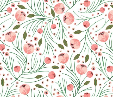 winter floral // pine // oversized fabric by ivieclothco on Spoonflower - custom fabric