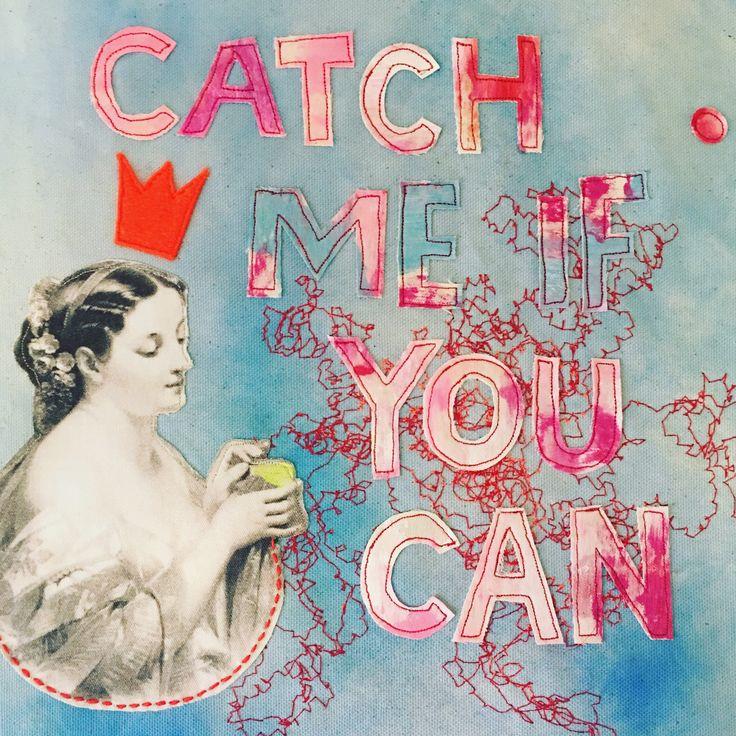 by molo mimi 2017 Collage, fabric, free stitch, quotes.
