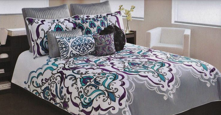 cynthia rowley queen scroll medallion teal purple gray blue 7 pc comforter set colors duvet. Black Bedroom Furniture Sets. Home Design Ideas