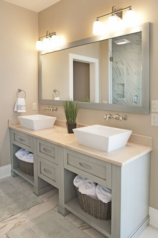 Transitional Master Bathroom with Limestone counters, Restoration Hardware Hutton Mirror, Flat panel cabinets, Double sink