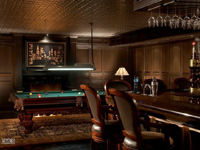 Traditional Man Cave With Laminate Floors, Billiard Room, American Heritage  Barstool With Cushion, Crown Molding