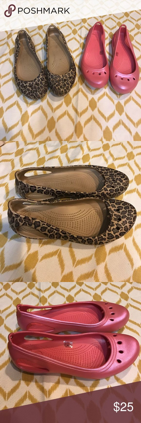 2 pairs of women's crocs flat slip ons size 9 2 pairs of women's crocs, both size 9. One is a pink pair and the second pair is an animal print. Both are slide on flats. Both in excellent used condition with very little wear! CROCS Shoes Flats & Loafers
