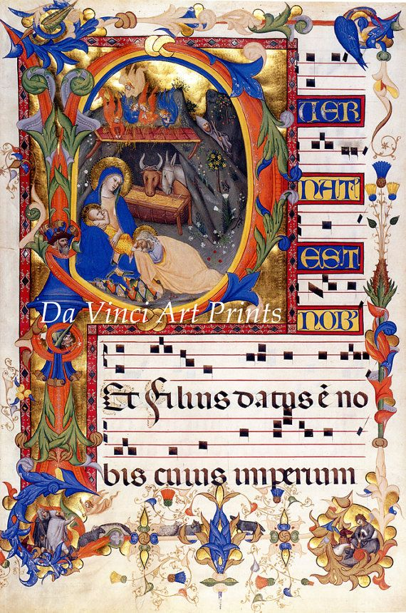 Kunstreproduktionen. Buchmalerei: Krippe & Verkündigung in der anfänglichen P, c. 1395. Feiner Kunstdruck