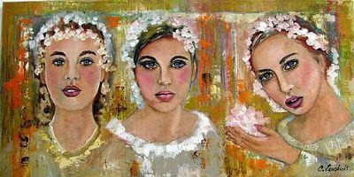 """Een prachtig 3D-schilderij (acryl op linnen) van Corrie Leushuis met als titel """"Bloemenmeisjes"""" . De afmetingen van dit kunstwerk zijn 50 x 100 cm."""