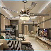 Гостиная потолочный вентилятор потолочный светильник минимализм современный Европейский ресторан ретро нержавеющей стали бытовой вентилятор со СВЕТОДИОДНОЙ лампы