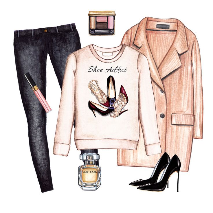 Fashion sweatshirt fall outfit. Black jeans, neutral coat and classic pumps