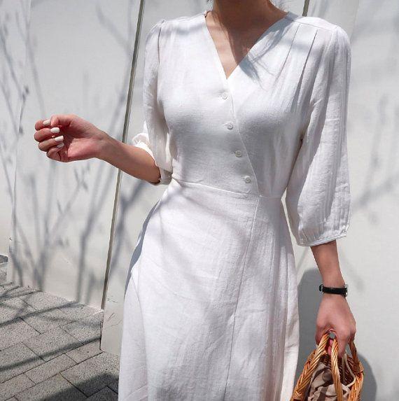 White wrap summer dress Wrap Linen Dress Natural Linen