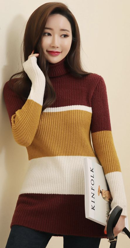 StyleOnme_Mix Color Turtleneck Ribbed Knit Tee #dailywear #knit #tee #koreanfashion #kstyle #kfashion #dailylook #wintertrend #seoul