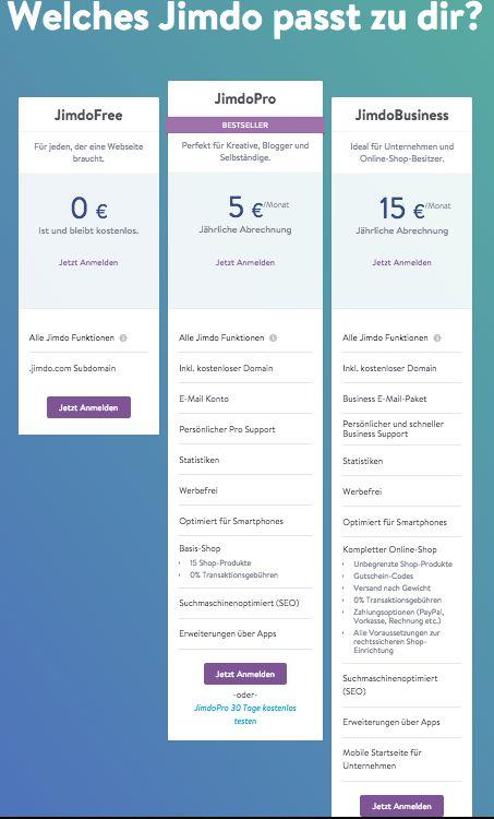 Jimdo payment overview - Preisübersicht UI/UX desktop