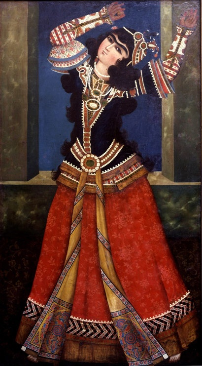 Dancing Qajar princess oil on canvas- 19th century