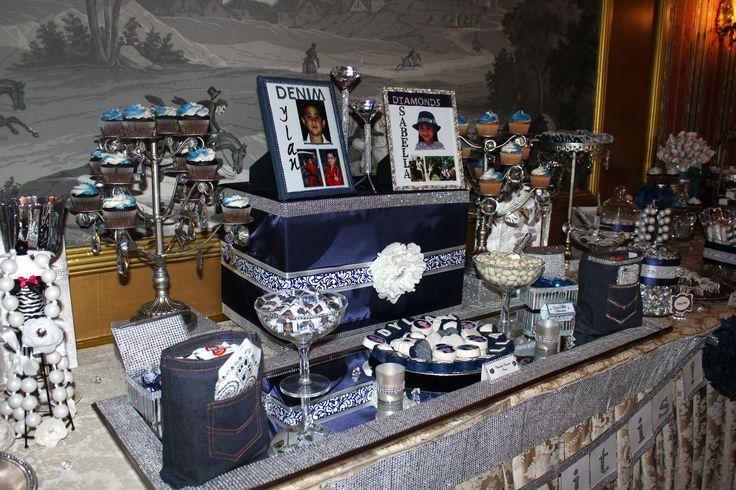 Denim And Diamonds Communion Candy Table Denim