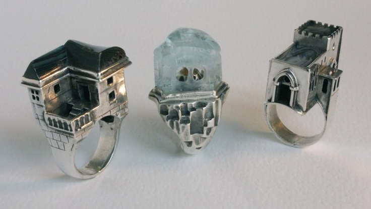 Three architectural rings. Silver with : Paua Shell, Aquamarine, Carnelian #Jewelry #Rings #Architecture