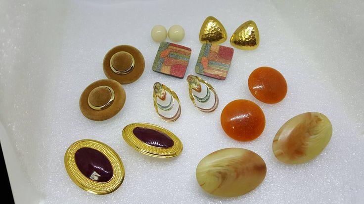 RESERVED SJBeige and Rust Retro Clip Earrings Mad Men 8 pair lot large Plus size #jewellery #wholesalelot #jewellerylots