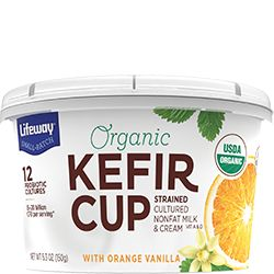 We've strained our kefir into a tart, tangy, spoonable snack served in a convenient on-the-go cup. Try our protein-packed Orange Vanilla Organic Kefir Cup!