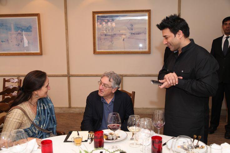 Legendary Robert De Niro with #Indian #theatre personality Sanjana Kapoor, at the Taj Mahal Hotel, New Delhi.