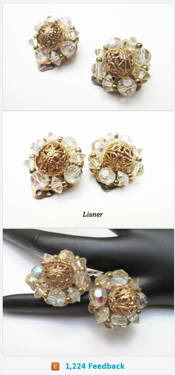 Lisner Earrings - Aurora Borealis crystal - gold filigree - cluster bead - clip on earrings https://www.etsy.com/serendipitytreasure/listing/494816315/lisner-earrings-aurora-borealis-crystal?ref=listing_published_alert