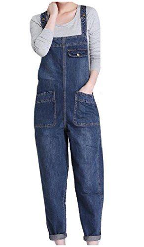 78c5fdfa8fd Comfy-Women Cowboy Fitted Big Pocket Oversize Washed Regular-Fit Baggy Jean  Bib Overalls Jumpsuits