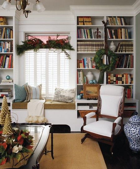 Bookshelves and window seat.  I'm waiting for the inspiration to do this in my daughters room with a toy-box under the window!