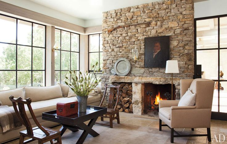 Rustic Refines Napa Valley Home  Neutral Natural Living RoomStones Fireplaces, Livingroom, Interiors, Napa Valley, Living Room, Fireplaces Wall, House, Families Room, Stone Fireplaces