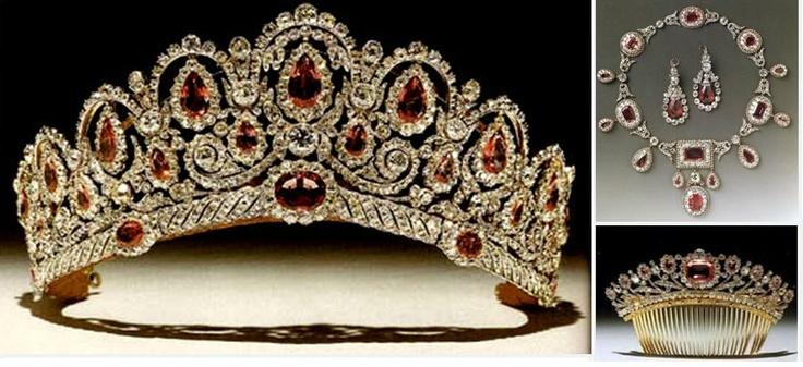 THE BAGRATION PARURE c1810.  Consisting of a tiara, necklace, earrings, and hair comb which once belonged to the Russian princess, Catherine Bagration. The combination of pinkish spinels and diamonds is unique and instantly memorable. It was purchased by the current duke of Westminster for his bride, and she wore it at their 1978 wedding.