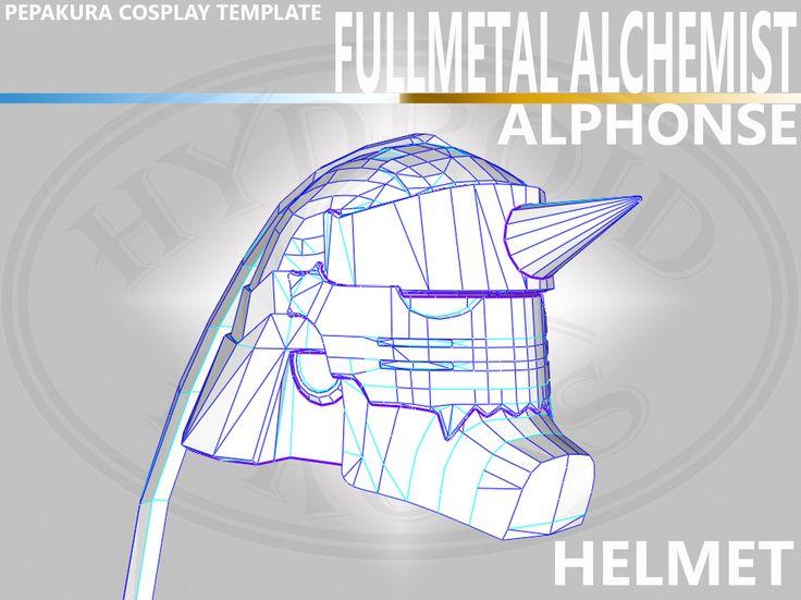 Cosplay Fullmetal Alchemist's Alphonse Helmet Pepakura Template .PDO .PDF by HydroidProps on Etsy