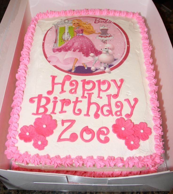 Barbie Zebra Theme 1st And 5th Birthday: Barbie Sheet Cake
