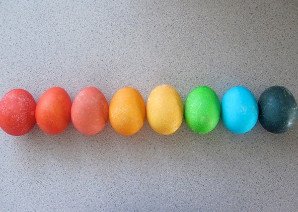 Easter eggs colored with Kool-Aid