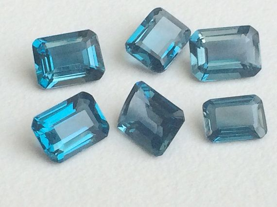 6 Pcs London Blue Topaz Emerald Cut Stones 5x7mm  by gemsforjewels