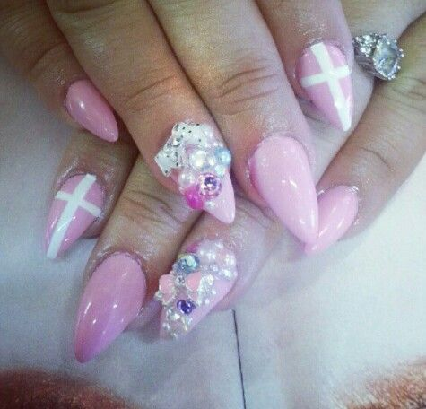 3d # pink #cross #Bling almond nails