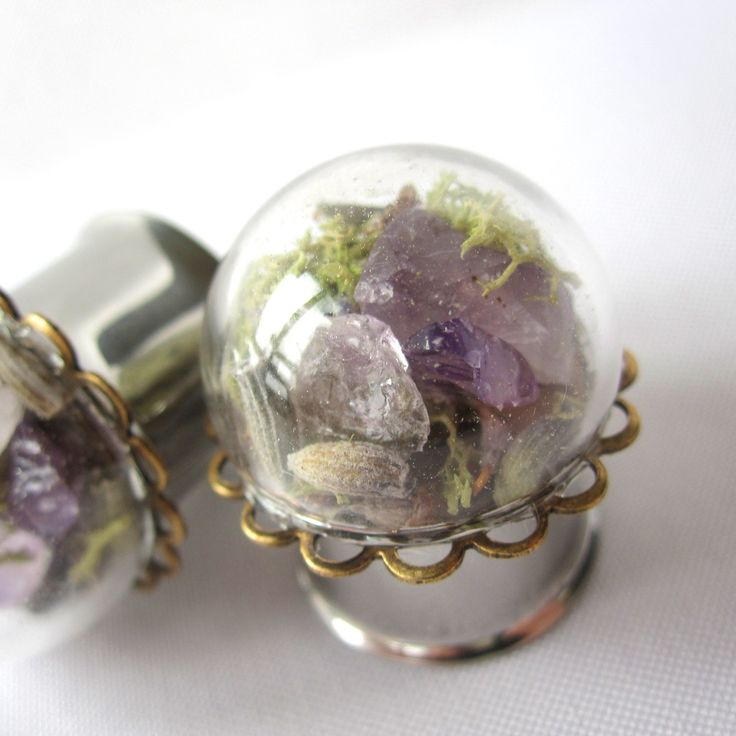 "Pair of Real Amethyst, Lavender, and Moss Statement Plugs - Terrarium Gauges - 4g, 2g, 0g, 00g, 7/16"", 1/2"", 9/16"", 5/8"", 3/4"", 7/8"", 1"" by WhimsyByKrista on Etsy"