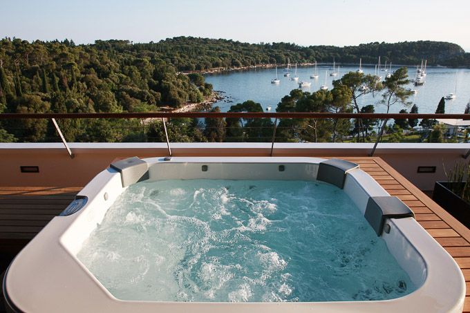 treetop views from jacuzzi terraced room at Hotel Lone