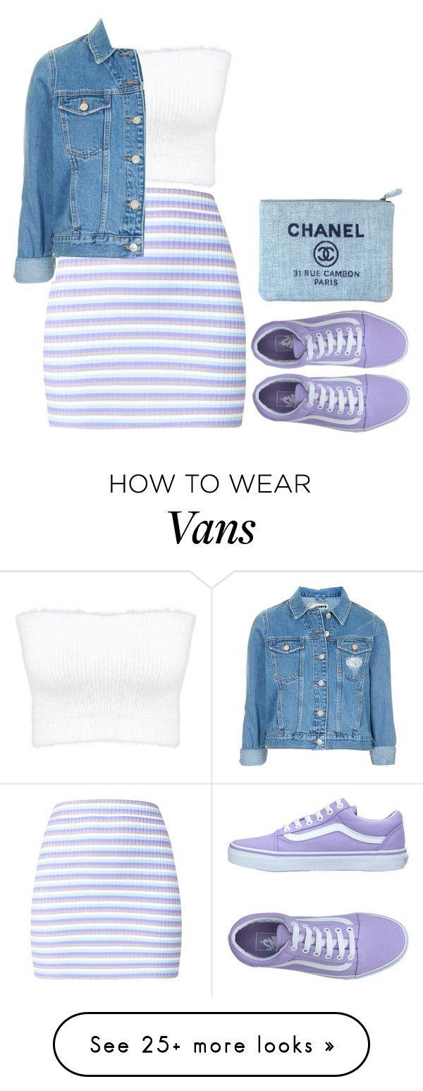 """vans"" by doitlooklikiwasleftoffbadnbougie on Polyvore featuring Vans, Topshop, Chanel, cute, like, purple, denim and vans"