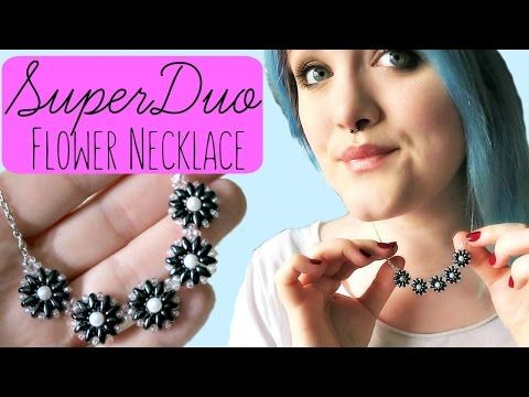 DIY Super Duo/Twin Bead Flower Necklace How to // Bead Weaving // ¦ The Corner of Craft - YouTube