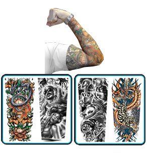 Tattoo Sleeves by PinkCatShop. $7.99. Instant Tattoos. Slip On These Sleeves For Awesome Skin Art. Be A Bad-Ass. TATTOO SLEEVES  These amazing tattoo sleeves are the ultimate  in fake tattoos! Stretchable close fit sleeves slip  over your un-adorned arms to completely cover them in  garish, Hells Angels style tattoos! Very lifelike  and a great way to make yourself look really, really tough.