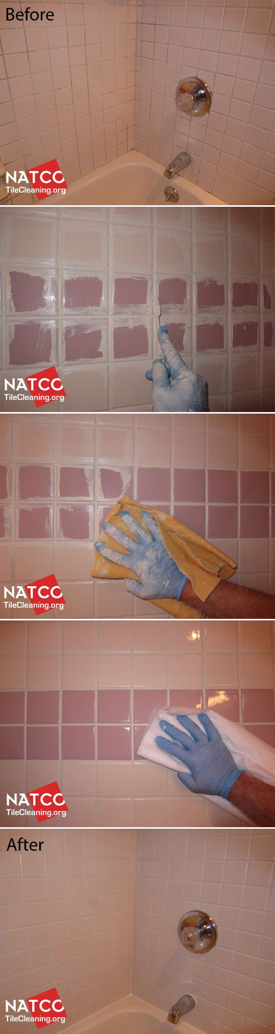 Restoring a tile shower with moldy grout by cleaning and colorsealing the grout.