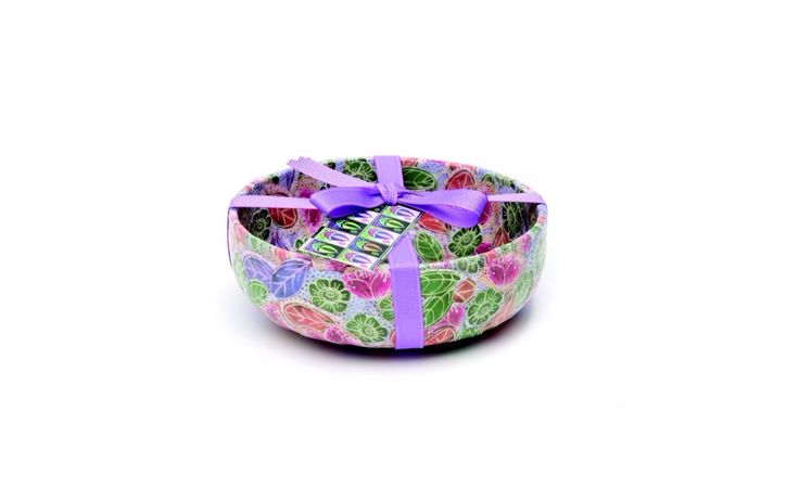 Floral collaged bowl all from original designs hand drawn