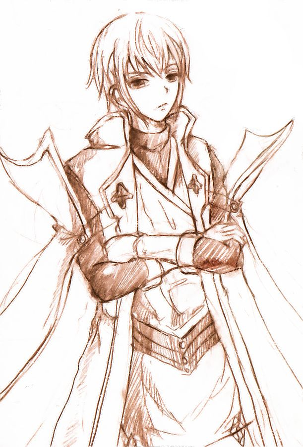 Jin Kisaragi. Sketched right after I got beaten by friend, she used Ragna.