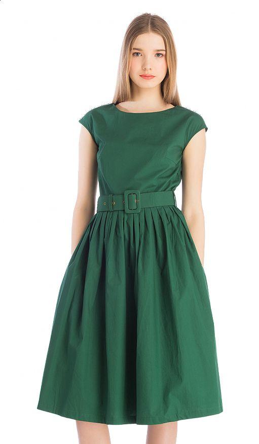 Зеленое платье с широким поясом, фото 4