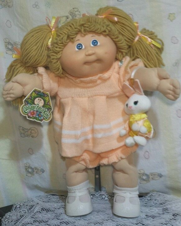 Vtg Coleco Cabbage Patch Kids Girl Doll 16''Blue Eyes Tan Hair Dimples Dakin Toy | eBay